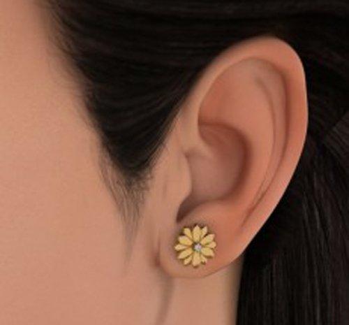 14K Or jaune 0.05CT TW White-diamond (IJ   SI) Boucles d'oreille à tige