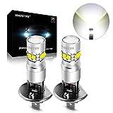 MAXGTRS 50W H1 CREE Chip LED Fog Light Bulbs with Condenser Lens - High Power 6000K Xenon White LED Fog Lamp
