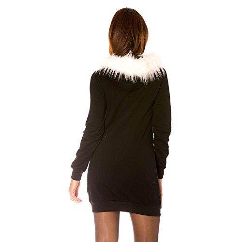 Miss Wear Line - Sweat manches longues noir avec capuche à fourrure blanc