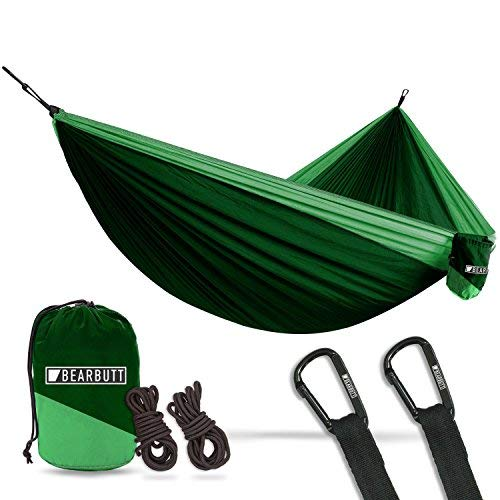 Bear Butt #1 Double Hammock, A Start Up Company Gear at Half The Cost of The Other Guys, Dark Green/Light - Ole Bear