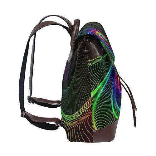 Graffiti tapet ryggsäck handväska mode PU-läder ryggsäck ledig ryggsäck för kvinnor