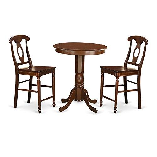 East West Furniture EDKE3-MAH-W 3 Piece Dining Table and 2 Counter Height Stool Set, Mahogany Finish - Mahogany Walnut Bar Stool