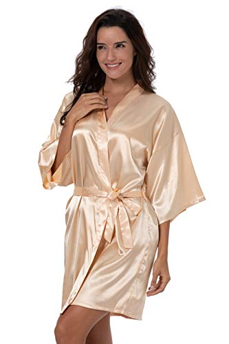 ShinyLuck Womens Satin Short Kimono Robe Solid Color Dressing Gown Bridal Party Robe