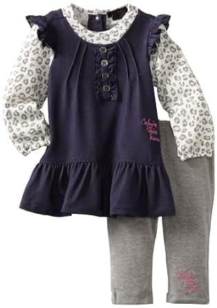 Calvin Klein Baby Girls' Denim Tunic with Leggings, Assorted, 12 Months