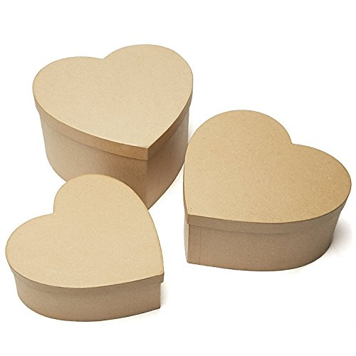 Large Heart Box - Factory Direct Craft Handcrafted Paper Mache Large Heart Boxes - 3 Boxes