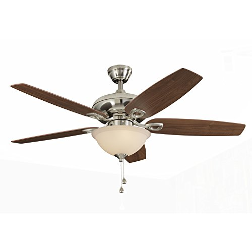 L CREEK 52-in Brushed Nickel Downrod or Close Mount Indoor Ceiling Fan with Light Kit (Bowl Light Kit Cocoa)