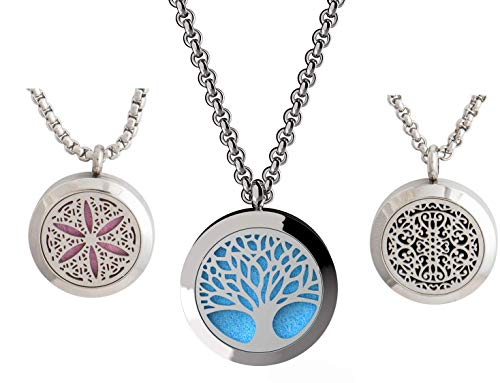 mEssentials Tree of Life, Flower of Life and Wrought Iron Essential Oil Diffuser Necklace Stainless Steel Locket Pendants with 24