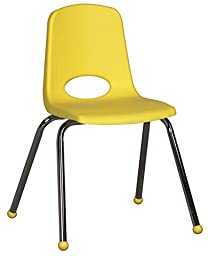 ECR4Kids School Stack Chair with Chrome Legs/Ball Glides (6-Pack), 16-Inch, Assorted Colors