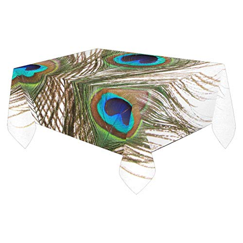 INTERESTPRINT 84 x 60 Inch Polyester Fabric Tablecloth Home Deco Table Cover Top Decoration Peacock Feathers Closeup ()
