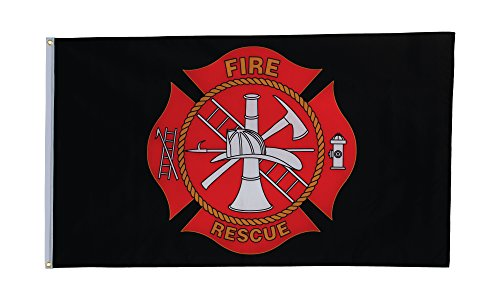 In the Breeze Fire Rescue Grommet Flag, 3 by 5-Feet (Dept Fire Embroidery)