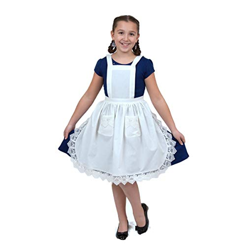 Essence of Europe Gifts E.H.G Deluxe Vintage Lace Full Apron For Girls | Victorian Maid Costume | Kitchen Party | Age 8-12 | Two Pockets | White