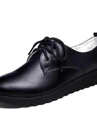 5 Bout Femme Plat 5 Black Chaussures Eu37 5 Cuir Travail Noir Bureau Cn37 Talon Uk4 Njx Décontracté 7 amp; Habillé Richelieu Blanc us6 Arrondi 2016 E7qxPB
