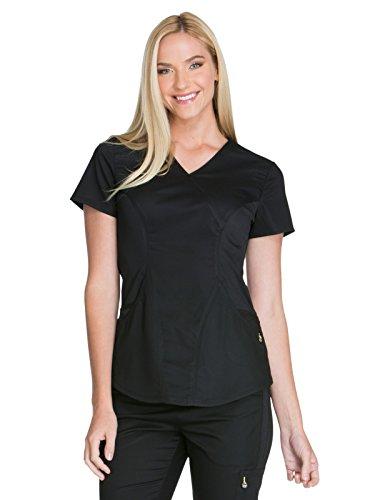 Cherokee Women's Luxe Sport Mock Wrap Top, Black, S (Mock Wrap Luxe)