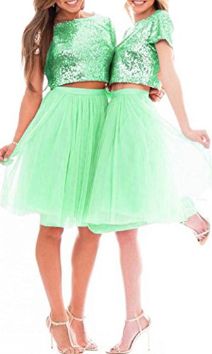 Dresses Two BessDress Cheap Beach Sequins Sparkly Dresses Piece Party Green BD510 Prom Weddings Bridesmaid ZdwxqPHd
