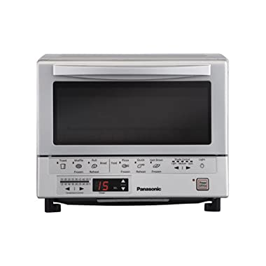 Panasonic 1300 Watts FlashXpress Toaster Oven, Features Instant Double Infrared Heating, with 6 Illustrated Preset Buttons and Automatically Calculates Cooking Time, Includes a Digital Timer with Reminder Beep and a 9  Square Inner Tray with Removable Crumb Tray