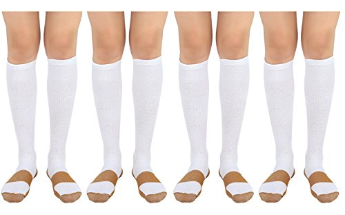 Moja Sports Compression Socks & Ankle Sleeve – Best Graduated Athletic & Medical Use for Men & Women for Running, Flight, Travel, Nurses (D4.) White/Copper : 4 Pair, XXL