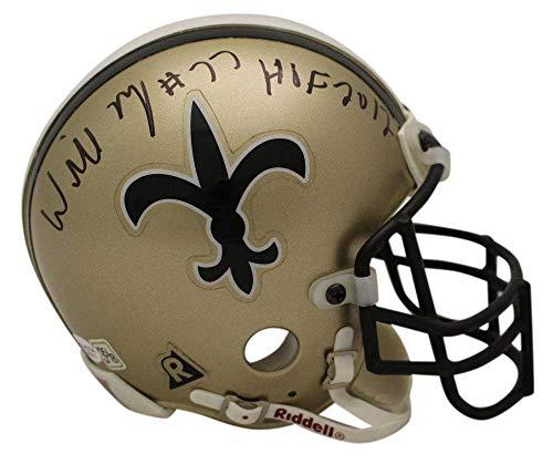Willie Roaf Autographed New Orleans Saints Authentic TB Mini Helmet HOF OA ()