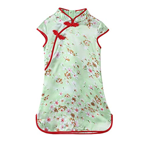 Toddler Baby Girls Kids Flowers Cheongsam Floral Party Princess Dresses One-Piece Romper Outfits Clothes Cotton Dress Green,Pink