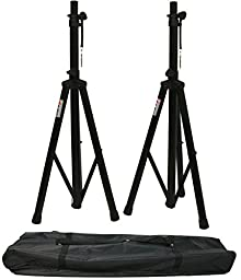 ASC (2) Pro Audio Mobile DJ PA Speaker Stands or Lighting 6 Foot Adjustable Height Tripod & Nylon Travel Bag