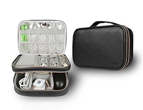 BUBM Electronics Accessories Travel Case, Accessories Bag Organizer, Cable Management Hard Drive Bag, Waterproof Portable Small Items Storage Bag, (PU - Black)