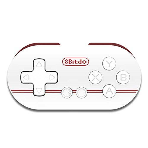 (Gam3Gear Palm Pocket Size 8Bitdo Zero Wireless Gamepad Controller Shutter for Android iOS Windows Mac White Red with Gam3Gear Keychain)