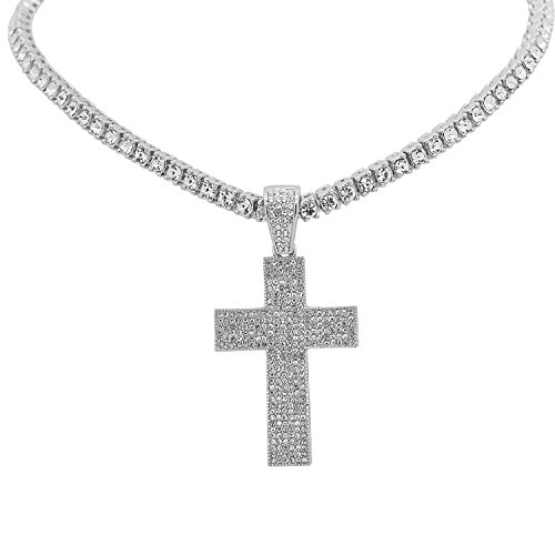 Hop Bling Real Hip (White Gold-Tone Iced Out Hip Hop Bling Cross Pendant with 1 Row Stones Tennis Chain 16