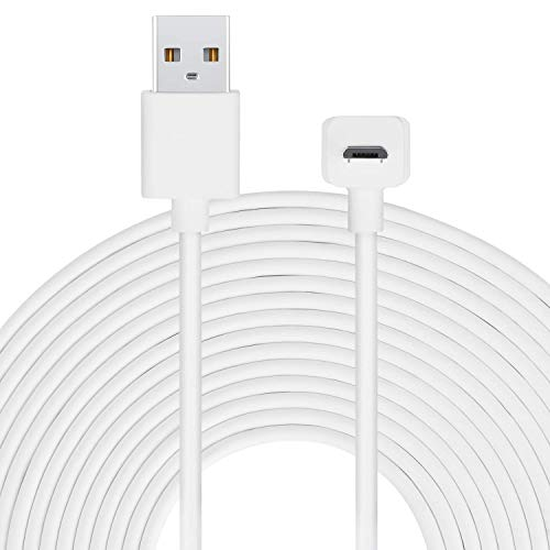 Long Cable Compatible with Amazon Cloud Cam with thoughtfully Designed L-Shaped Micro-USB Head - by Wasserstein – Longer Reach for Your Cloud Cam (6m / 20ft, White)