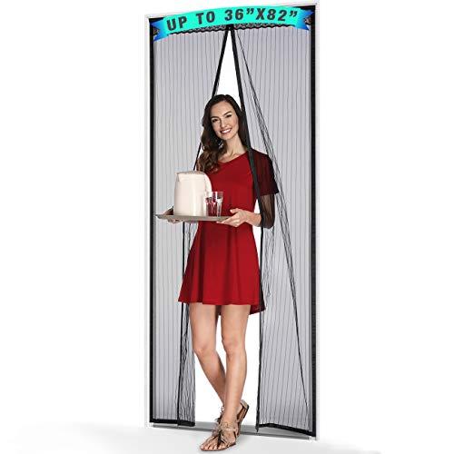 ELWEY Magnetic Screen Door with Heavy Duty Magnets, Magnet Screen Door Curtain Mesh Fits Door Up to 36