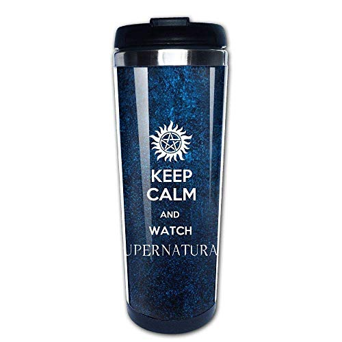 (Keep Calm and Watch Supernatural 400ml Stainless Steel Coffee Cup Tea Mug Travel Vacuum Insulated Mugs Hot Cold Tumbler)