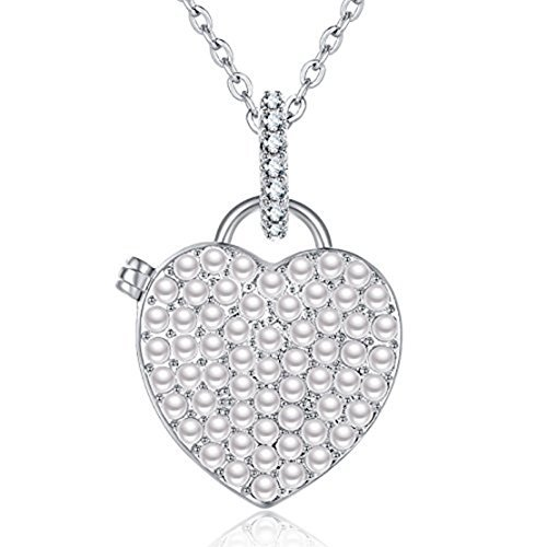 - IXIQI Locket 9ct Gold Plated Heart Pearl Infinity Love Locket Necklace (White) …