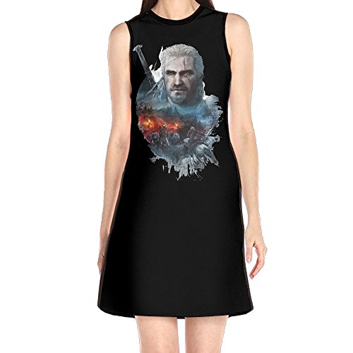 [GHHK Women's Wild Game Poster Hunt Sleeveless Vintage Tshirt Dress White L] (Geralt Witcher 3 Costume)