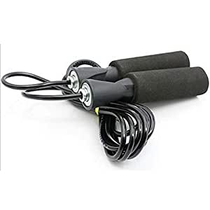 Gym Foxx Skipping Rope with Ball Bearing Foam Handles - Removable Handle Weights - Size Adult Large (Black)