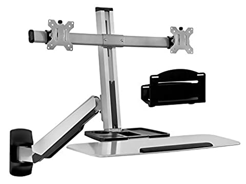 Mount-It! Sit Stand Wall Mount Workstation & Stand Up Computer Station With Dual Monitor Mount Articulating Keyboard Tray Arm and CPU (Monitor Mount Sit Stand)