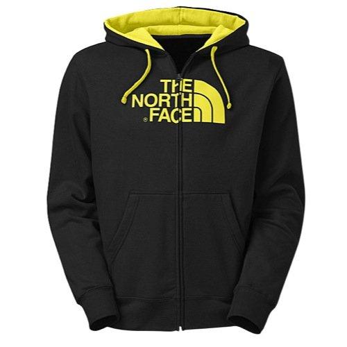The North Face Half Dome Full-Zip Hoodie - Men's TNF Black/Energy Yellow, S