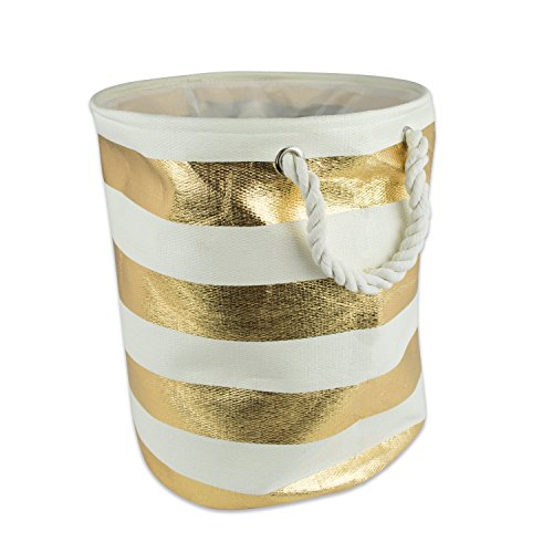 - DII Woven Paper Basket or Bin, Collapsible & Convenient Home Organization Solution for Bedroom, Bathroom, Dorm or Laundry (Large Round - 15x20) - Gold Rugby Stripe