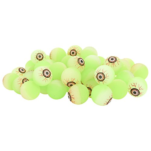 50-Pack Bouncy Balls Halloween Party Supplies - Scary Eyeballs Glowing in the Dark - Green, 1.1 Inches