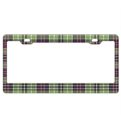(KuyuqudGVg License Plate Frame - Scottish Plaid Pattern Classical Checkered Striped Design - Car License Plate Holder Tag for Soldiers,Firemen)