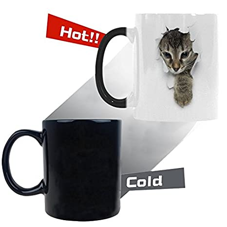 InterestPrint Funny Kittens in Holes of Paper Color Changing Coffee Mug  Heat Sensitive Morphing Mug Tea Cup Funny Gift for Women Men Kids Mom Dad