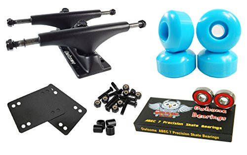 Owlsome 5.0 Black Aluminum Skateboard Trucks w/52mm Wheels Combo Set (Baby Blue)