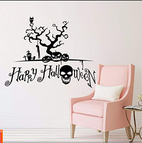 tfqddp Halloween Background Wall Decoration Removable Wall Stickers Removable New 2017 DIY Black Scary Evil Festival Wall Sticker ()
