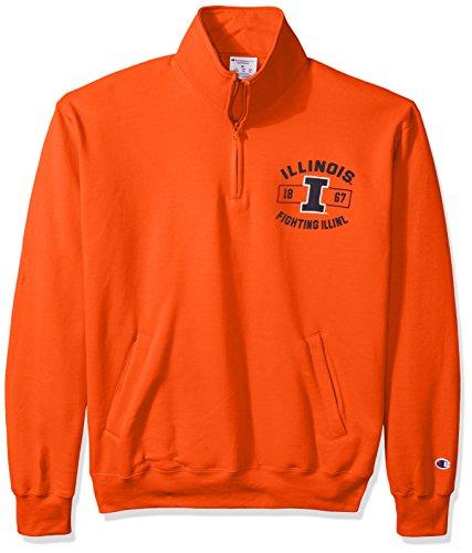 NCAA Illinois Illini Men's Power Blend Fleece Quarter-Zip Jacket, XX-Large, Orange by Champion