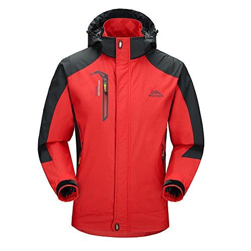 Libre Softshell Hombre mujer Rojo Capucha Montaña Chaqueta Con Impermeable Al Aire Windbreaker AaBtq