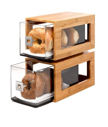 Rosseto BD102 2-Tier 3-Ply Bamboo Narrow Bakery Column with Clear Acrylic Drawers, 12.8'' Length x 6.85'' Width x 14'' Height, Natural
