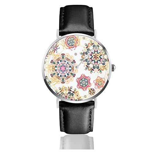 - Dandelion Mandala Mens Watches Leather Bands Waterproof Analog Quartz Watch 38mm/1.5