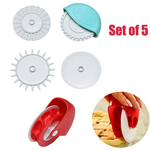 Pastry Wheel Decorator and Cutter,Beautiful Lattice Pie Crust Durable Pizza Pastry Pie Lattice Decoration Cutters Tool for Pies Easy to Use, Easy to Clean (5 pack(b))