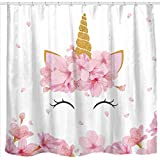 Cute Pink Shower Curtains Sunlit Designer Lovely Pink Flowers Cute Smiling Unicorn Fabric Shower Curtain for Kids and Girls Bathroom Decoration