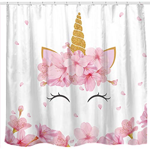Sunlit Designer Lovely Pink Flowers Cute Smiling Unicorn Fabric Shower Curtain for Kids and Girls Bathroom Decoration ()