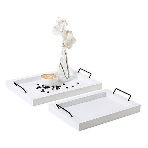 Set of 2 Country Rustic White Wood Finish Rectangular Nesting Serving Trays w/ Metal Handles