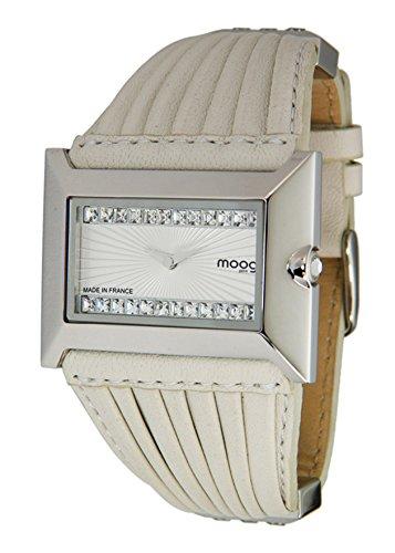 Moog Paris Temptation Women's Watch with White Dial, White Genuine Leather Strap & Swarovski Elements - M45332-004