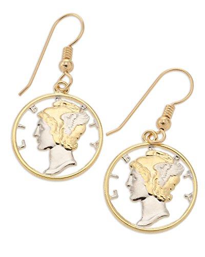 Mercury Dime Earrings, United States Dimes hand Cut, 14 Karat Gold and Rhodium Plated, 3/4